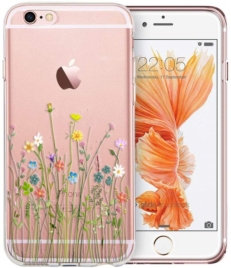 Unov Case Clear with Design Soft TPU Bumper Shock Absorption Slim Embossed Floral Pattern Protective Case for iPhone 6s Plus iPhone 6 Plus 5.5 inch (Flower Bouquet)