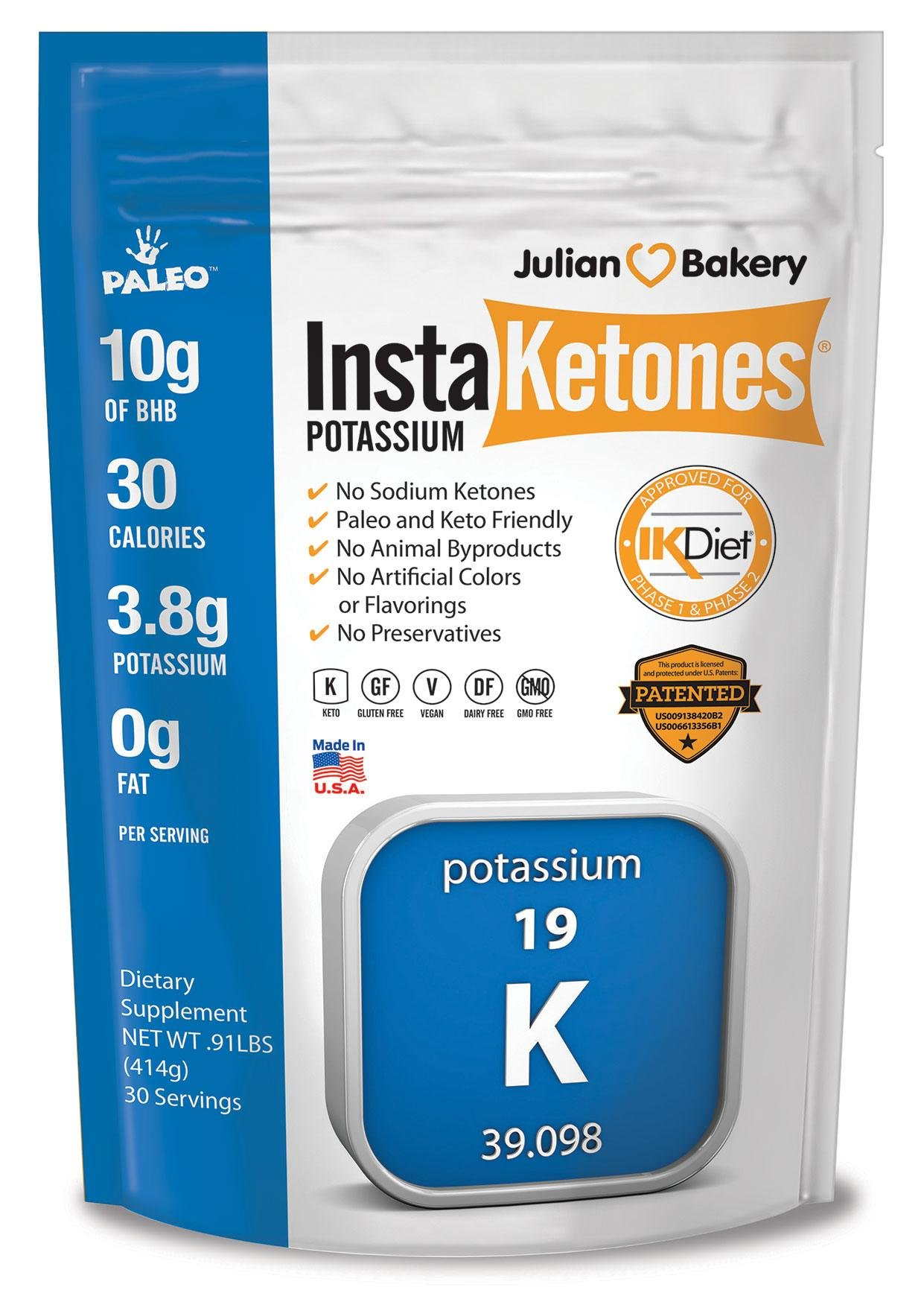 InstaKetones® 10g GoBHB®+ Potassium Per Scoop (Sodium Free) (30 Servings) Exogenous Ketones by Julian Bakery