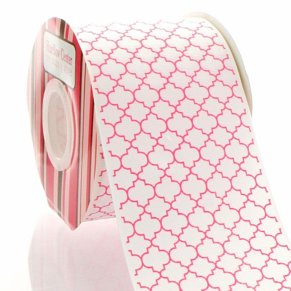 3'' Hot Pink Quatrefoil Grosgrain Ribbon 100 Yard
