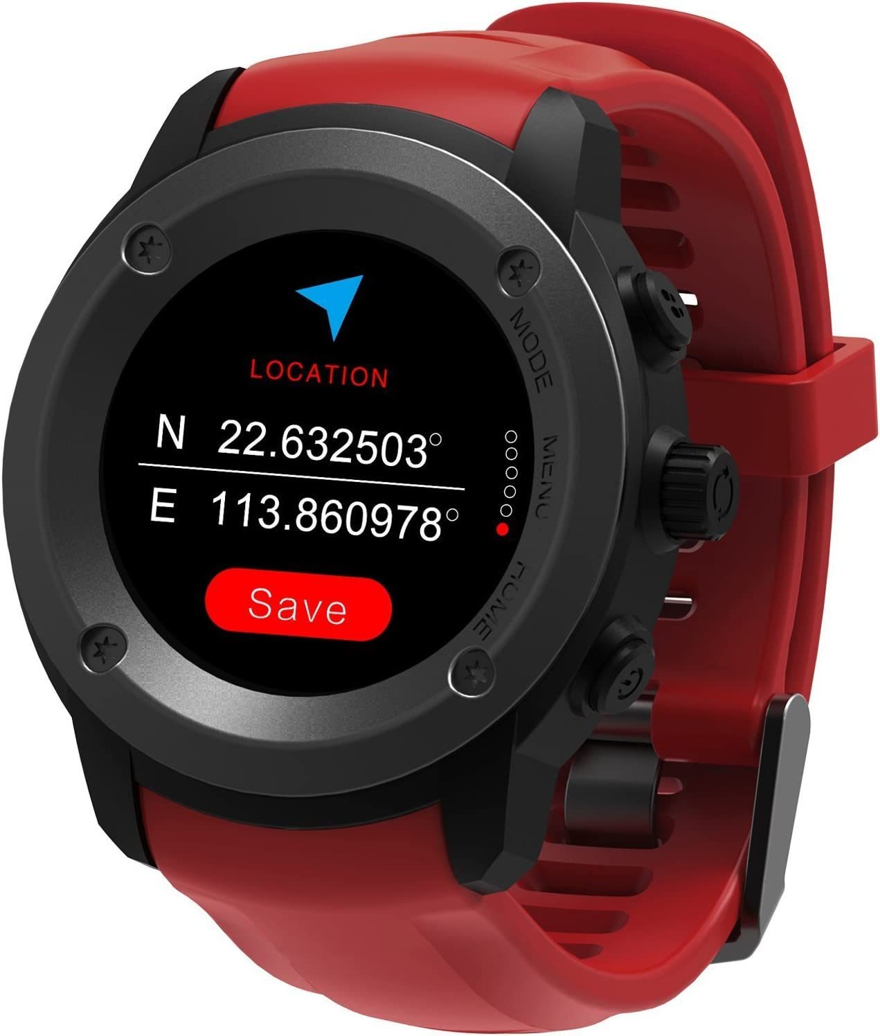 GPS Running Watch Outdoor Sports Stainless Steel Smart Watch Multi Function GPS Training Mode Distance Calorie Speed Time Count With Sleep Heart Rate Monitor Weather Forecast Message Remind Red