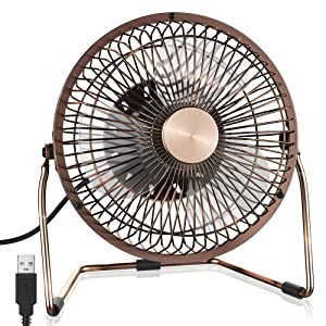 Funme 6 Inch USB Desk Fan,Portable Mini Table Fan with 2 Setting, Metal Design, Quiet Operation, 360 Rotation,Desktop Fan for Home,Office and Outdoor(Bronze)