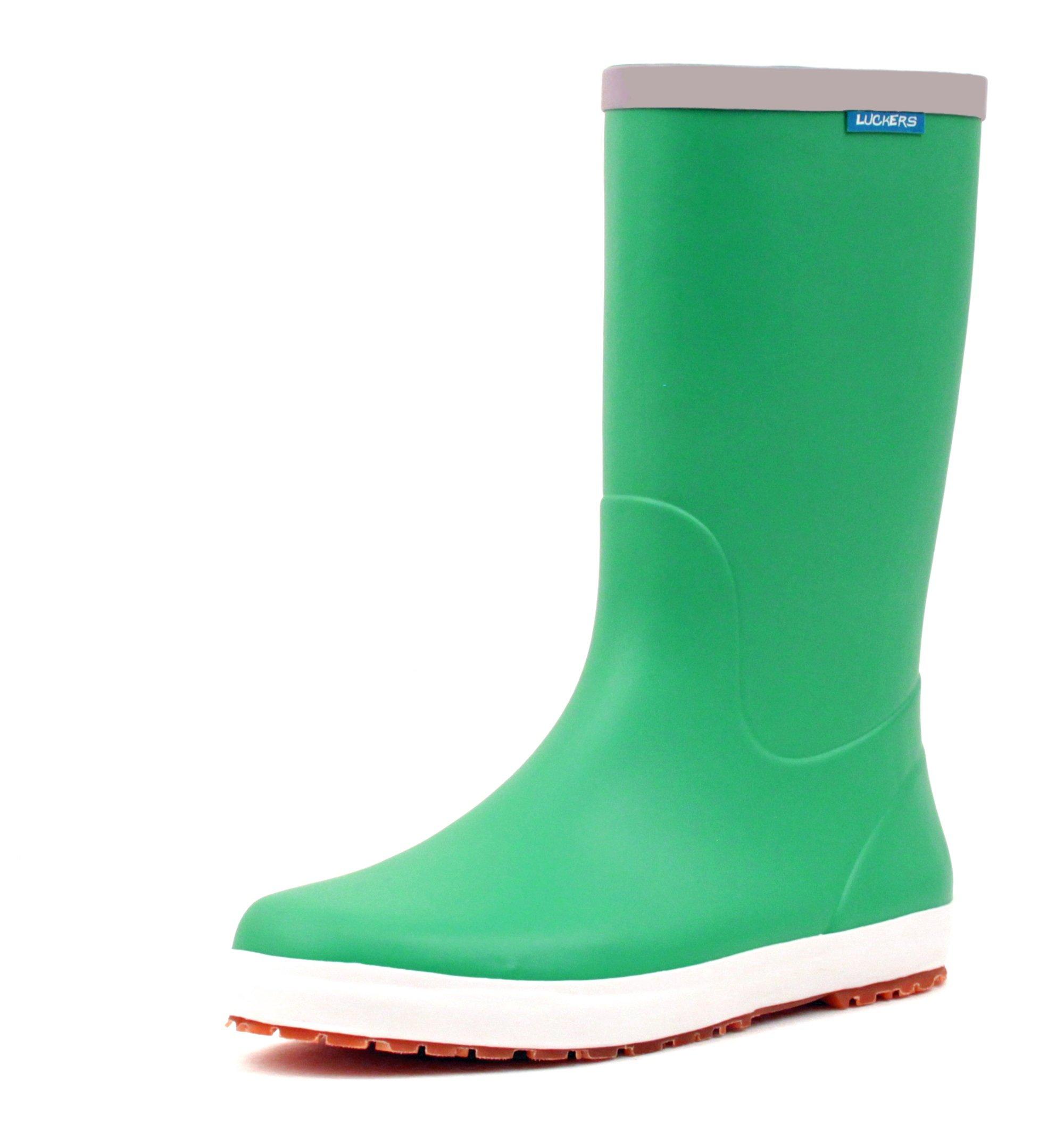 Luckers Women's Trendy Foldable Wellies Rain Boots (7 B(M) US, Green)