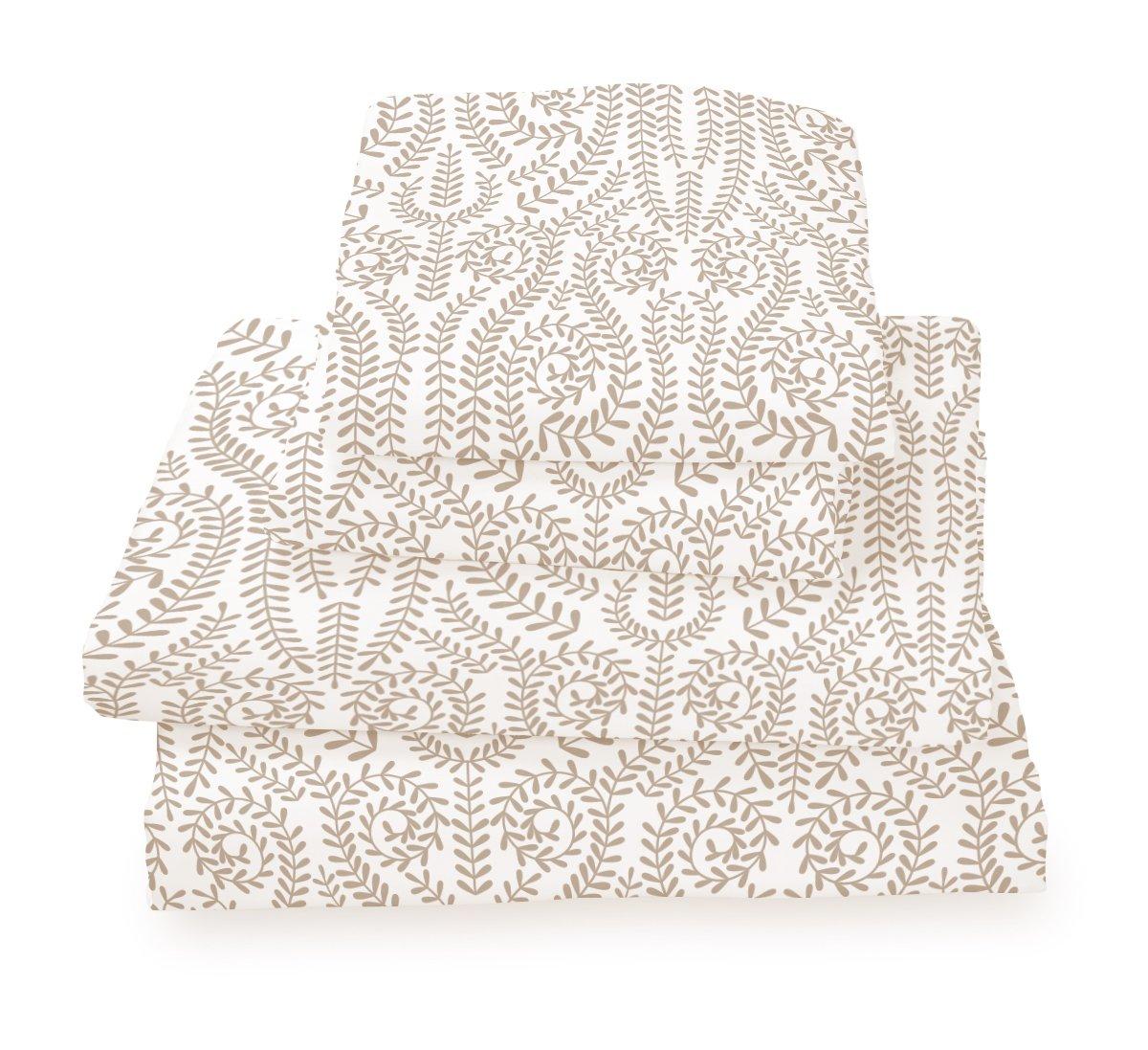 Queen Sheet Set Khaki Vine - Double Brushed Ultra Microfiber Luxury Bedding Set