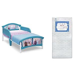 Delta Children Plastic Toddler Bed, Disney Frozen II + Delta Children Twinkle Galaxy Dual Sided Recycled Fiber Core Toddler Mattress (Bundle)
