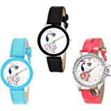 Swadesi Stuff Analogue Multicolor Dial Combo Of 3 Girl's & Women's Watch - Cutglass Combo302