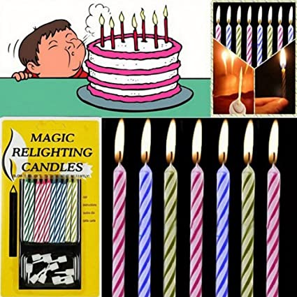 DICPOLIA Toys 10Pcs Magic Trick Relighting Candle Birthday Cake Decors Party Joke Xmas Gift Funny