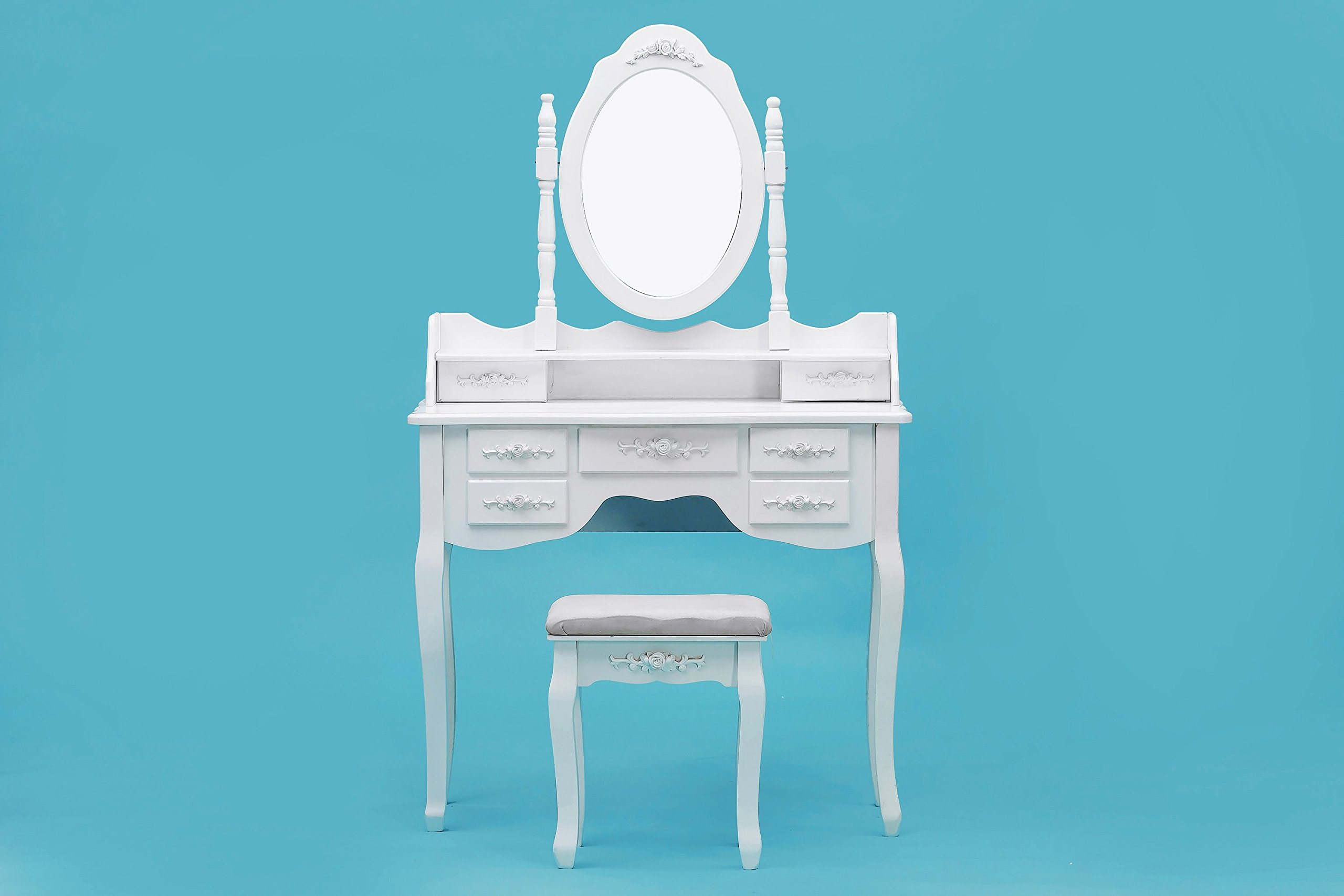 ViscoLogic Makeup Vanity Table Set with Stool (K009)