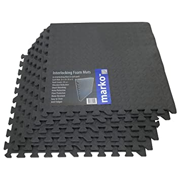 24 Sq Ft Interlocking Foam Mats Tiles Gym Play Garage Workshop Floor Dark Grey