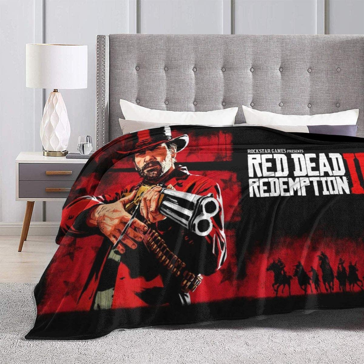 Amazon Com Patriciahmarin Red Dead Redemption 2 Blanket Soft Throw Blanket Flannel Lightweight Summer Fuzzy Thin Blanket For Couch Sofa Bed 80 X60 Home Kitchen