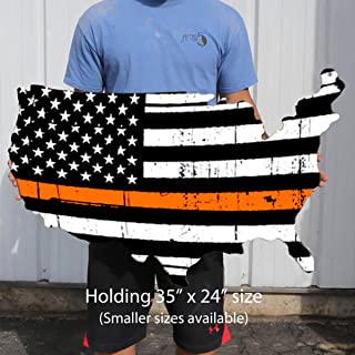 "product image for Surf To Summit Thin Orange Line Flag Plasma Cut Steel USA Sign Search and Rescue Personnel and EMS Decor Wall Art Custom Metal Sign Business Art Retirement Gift for First Responders (24"" x 16"")"