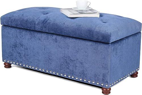 Joveco Storage Ottoman Bench 35 Blue Fabric Rectangular Tufted Ottomans Steelblue