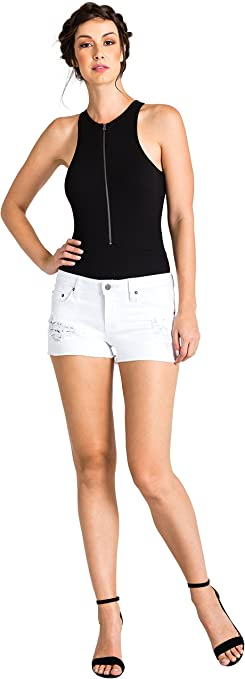 Standards /& Practices Modern Womens Stretch Zipper Floral Raw Hem Jean Shorts