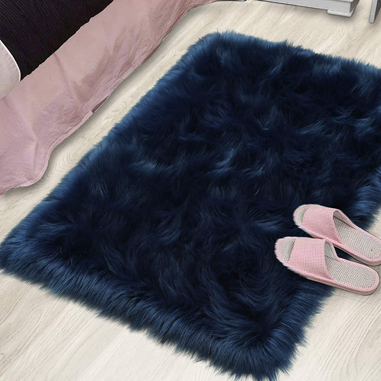 YJ.GWL Modern Large Fluffy Faux Sheepskin Fur Area Rugs Furry Carpet for Bedroom Living Room, 2' x 3' Indigo