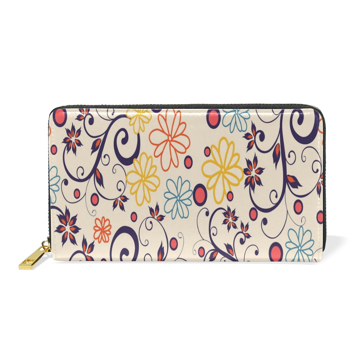 Women Genuine Leather Wallet Flower Pattern Zipper Purse Girl Phone Clutch