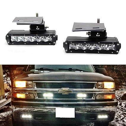 ijdmtoy led light bar fog lamps kit for 99-02 chevrolet silverado 1500  2500, 00-01 3500, 00-2006 suburban tahoe, includes (2) 30w cree led light  bars,