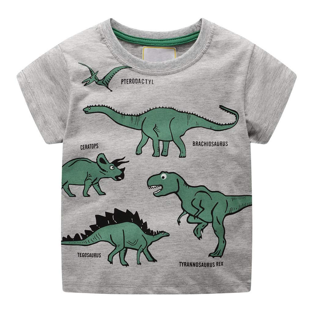 Lavany Little Baby Boys Cotton Clothes Short Sleeve Dino Print Tops Blouse for 1-7 T Gray