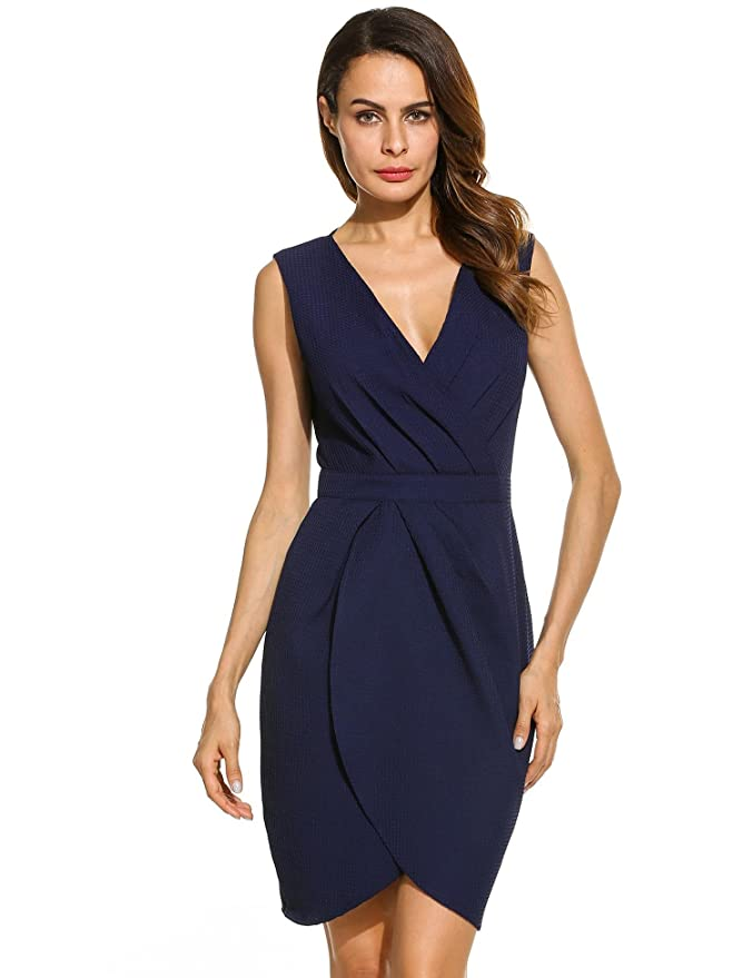 Hufcor Women Elegant Draped Wrap Front V-Neck Sleeveless Party Short Dress at Amazon Womens Clothing store: