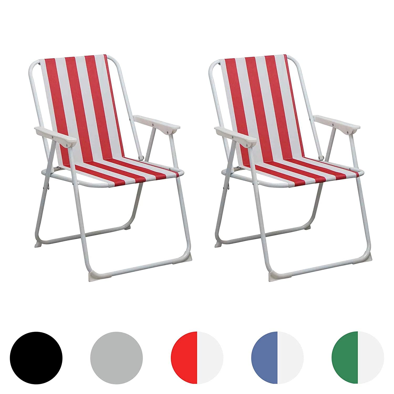 Silla playera plegable con rayas rojas y blancas para el jardín o camping - 2 unidades