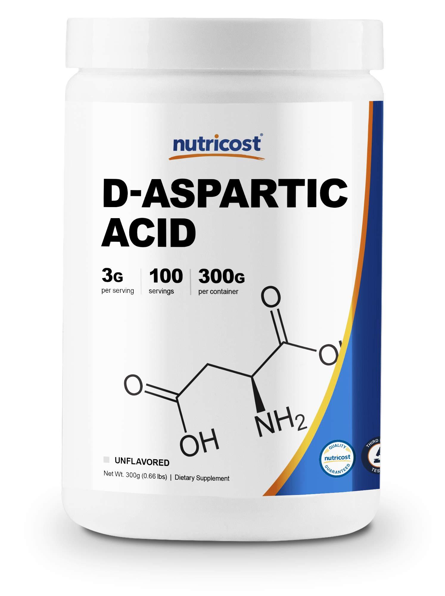 Nutricost D-Aspartic Acid (DAA) Powder 300G - Pure D Aspartic Acid