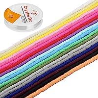 LUTER 6300+ Cuentas De Arcilla Polimérica, Cuentas Planas Redondas Multicolores, Para Hacer Joyas, Collar, Tobillera…