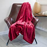DOZZZ Flannel Couch Throw Blanket Lightweight Cozy Plush Soft Cover for Sofa Chair Bed Furniture Red Gift Blanket by