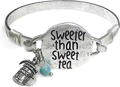 "Wonderent /""Sweeter Than Sweet Tea/"" Vintage Bangle Bracelet with Bead and Cute Tea Stein Charm"
