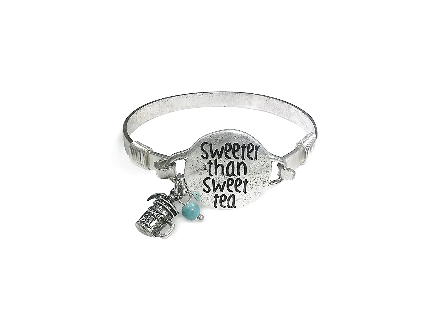 "Wonderent /""Sweeter Than Sweet Tea/"" Vintage Bangle Bracelet with Bead and Cute Tea Stein Charm"