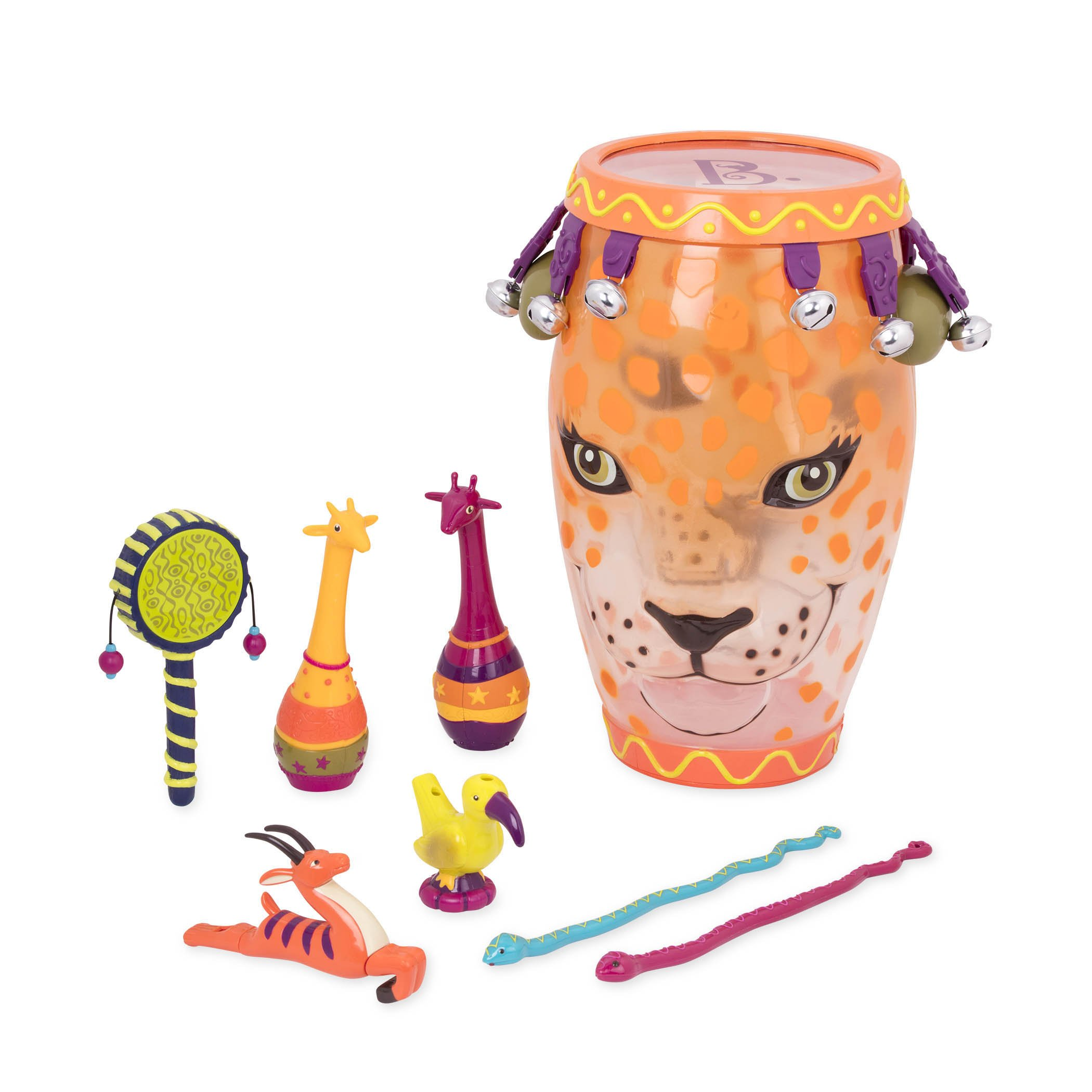 B. Toys - B. Jungle Jam - Toy Drum Set (Includes 9 Percussion Instruments for Kids)