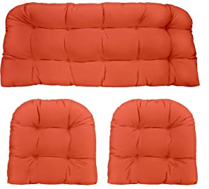 RSH Décor Indoor Outdoor 3 Piece Tufted Wicker Settee Cushions 1 Loveseat & 2 U-Shape Weather Resistant ~ Choose Color (Coral, 2-19