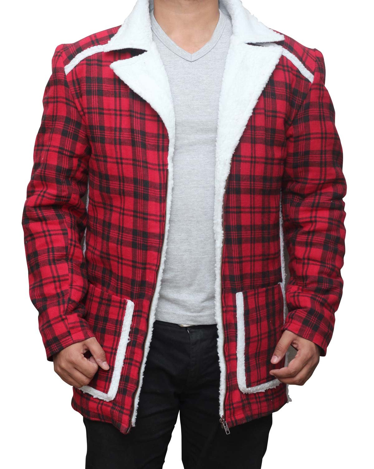 Deadpool Ryan Reynolds Red cotton flannel Shearling Jacket 3XL by fjackets (Image #2)