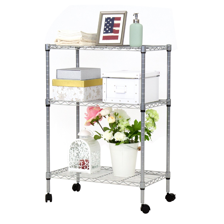 Kinbor Rack Multifunctional Bathroom Kitchen Living Room Holder Plant Flower Stand Utility Storage Shelf (3-Tire Steel Shelf)