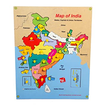 Triangle Wooden Puzzle Map of India