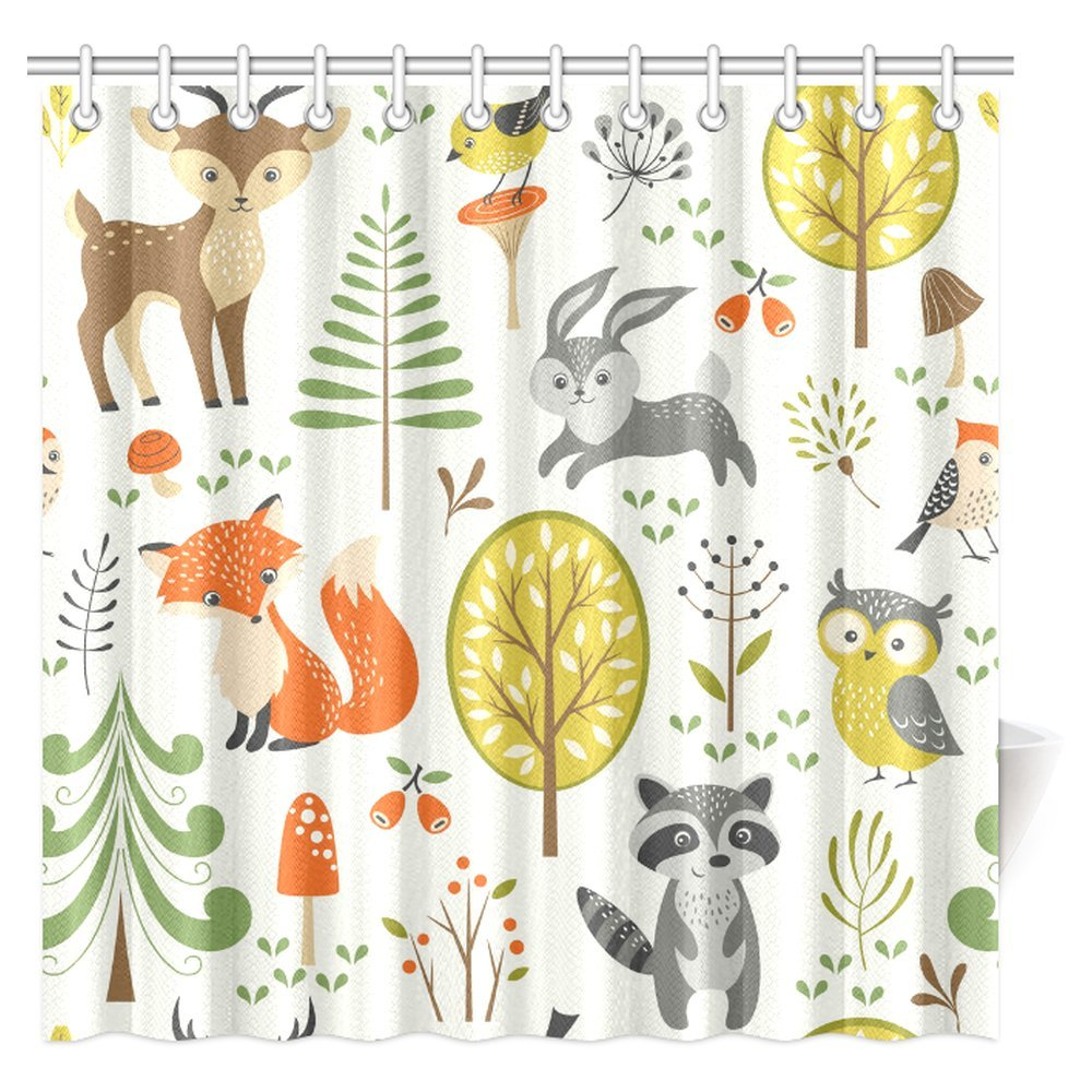 InterestPrint Summer Forest Pattern with Cute Woodland Animals, Trees, Mushrooms and Berries Shower Curtain Bathroom Decor with Hooks, 72 X 72 Inches Extra Long