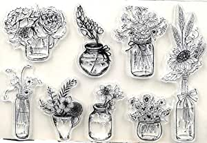 Flowers in Glass Vases Clear Rubber Stamp Set 6.5x4.5""
