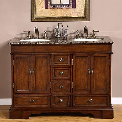 Silkroad Exclusive Baltic Brown Granite Top Double Sink Bathroom