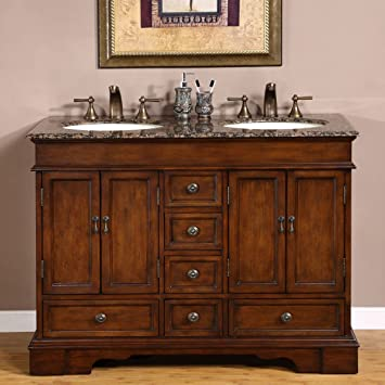 Silkroad Exclusive Baltic Brown Granite Top Double Sink Bathroom