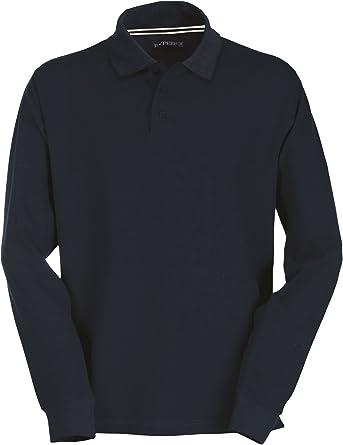 Polo de manga larga para hombre, 100 % algodón, 3 botones: Amazon ...