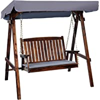 Outdoor Swing Chair, Gardeon 2 Seater Garden Hanging Chair Wooden Bench Outdoor Furniture with Canopy and Removable…
