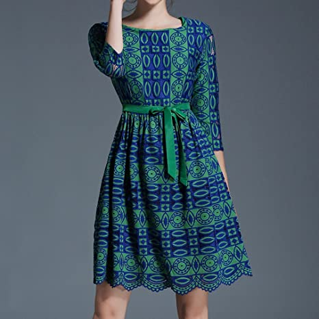 Honghu Damen Sommer Retro Vintage 3/4 Arm Crew Neck Knielang Kleid:  Amazon.de: Bekleidung