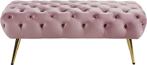 Meridian Furniture Amara Collection Modern Contemporary Pink Velvet Upholstered Bench with Deep Button Tufting, Stainless Steel Legs with Gold Finish, 48 W x 20.5 D x 19 H,
