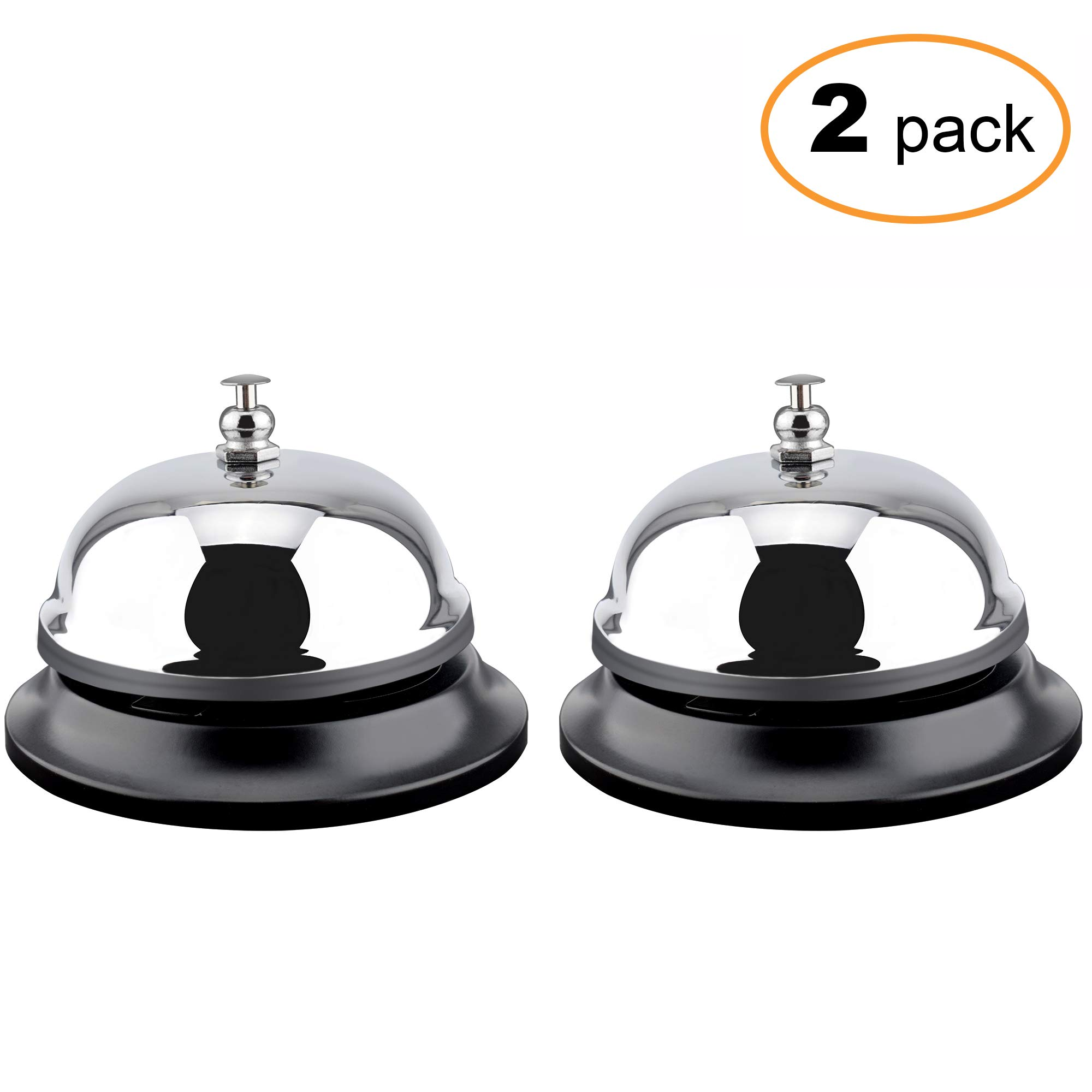 MROCO 2 Count Big Call Bells, 3.38 inch Diameter, Chrome Finish, All-Metal Construction, Desk Bell Service Bell for Hotels, Schools, Restaurants, Reception Areas, Hospitals, Warehouses(Silver)