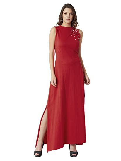 8b5175ca930 Miss Chase Women s Red Back Cut-Out Pearl Maxi Dress  Amazon.in ...