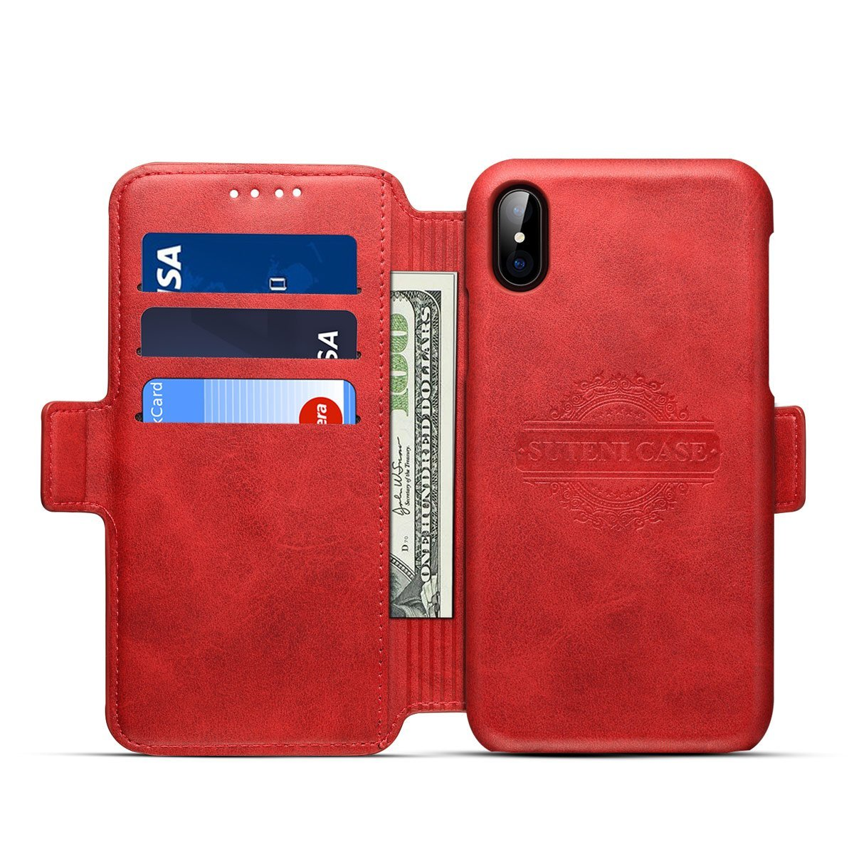 Scheam iPhone X Flip Cover, Case, Skins Card Slot [Stand Feature] Leather Wallet Case Vintage Book Style Magnetic Protective Cover Holder for iPhone X - Red by Scheam (Image #7)