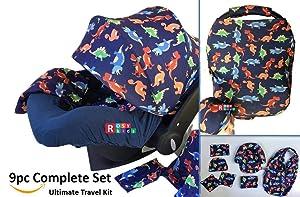 9pc Baby Boy Baby Girl Ultimate Set of Infant Car Seat Cover Canopy Headrest Blanket Hat Nursing Scarf, 25JE11