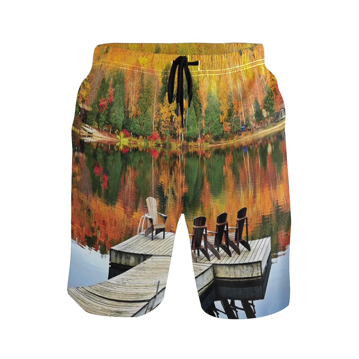 COVASA Mens Summer ShortsChairs On Wooden Dock Vibrate Color Fall Forest Refle