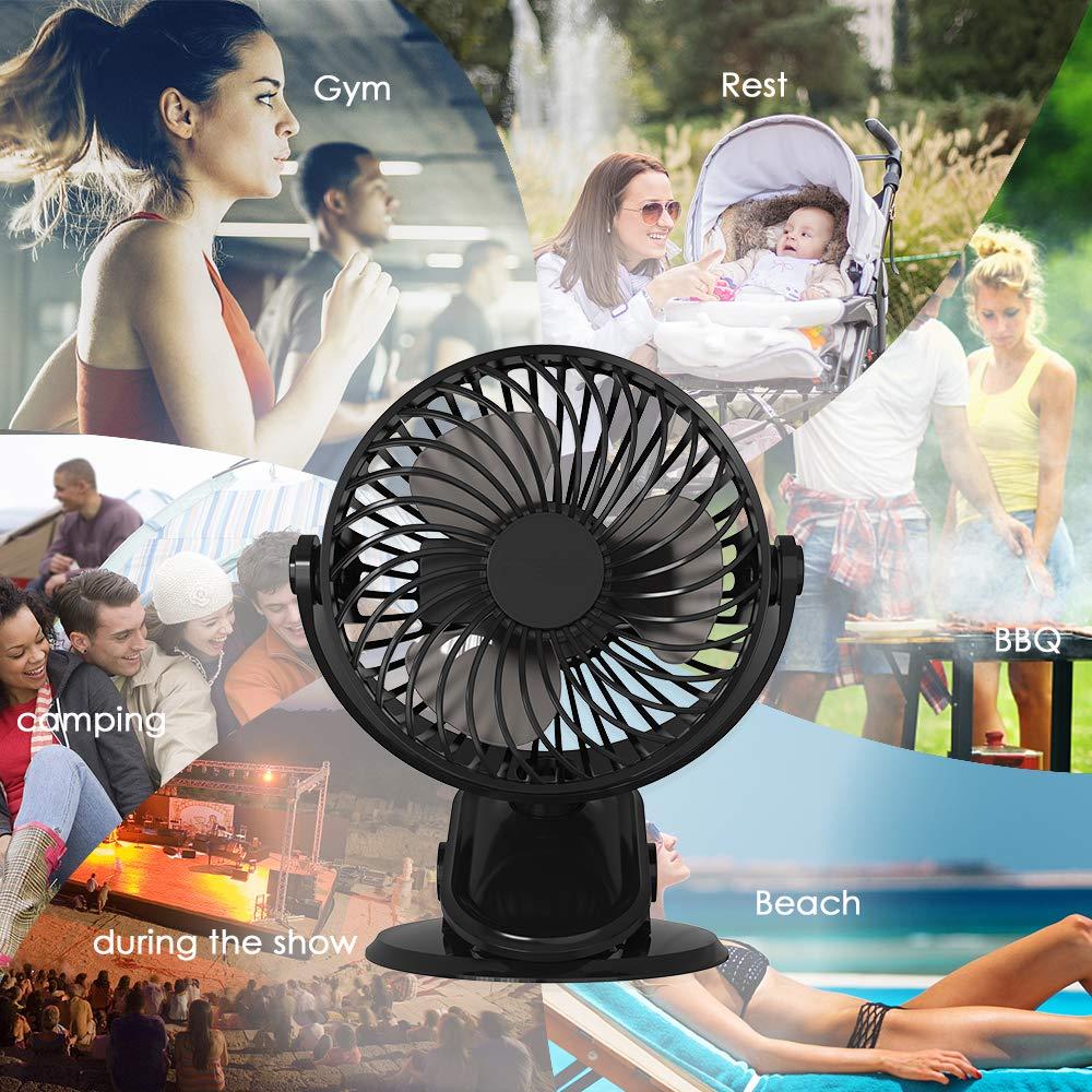 Easthshining Mini Ventilador USB Recargable Dormitorio 360 Grados de Rotaci/ón para Oficina PC Ventilador de Mesa Port/átil y Silencioso con Bateria