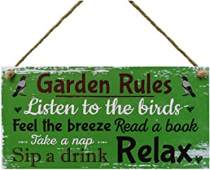 Meijiafei Garden Rules-Listen to The Birds,Feel The Breeze,Read a Book,Take a nap Relax Summer House Sign Garden Shed Plaque 5