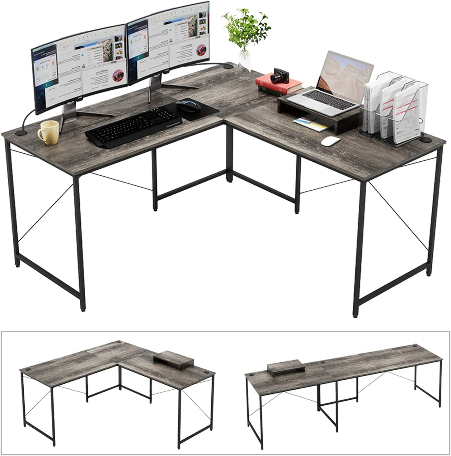 "Bestier Industrial L-Shaped Computer Desk, 95.5"" Large 2 Person Office Corner Desk, Adjustable L Shaped or Long Desk with Free Monitor Stand, Home Writing Gaming Desk Build-in Cord Management, Gray"
