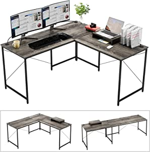 """Bestier Industrial L-Shaped Computer Desk, 95.5"""" Large 2 Person Office Corner Desk, Adjustable L Shaped or Long Desk with Free Monitor Stand, Home Writing Gaming Desk Build-in Cord Management, Gray"""