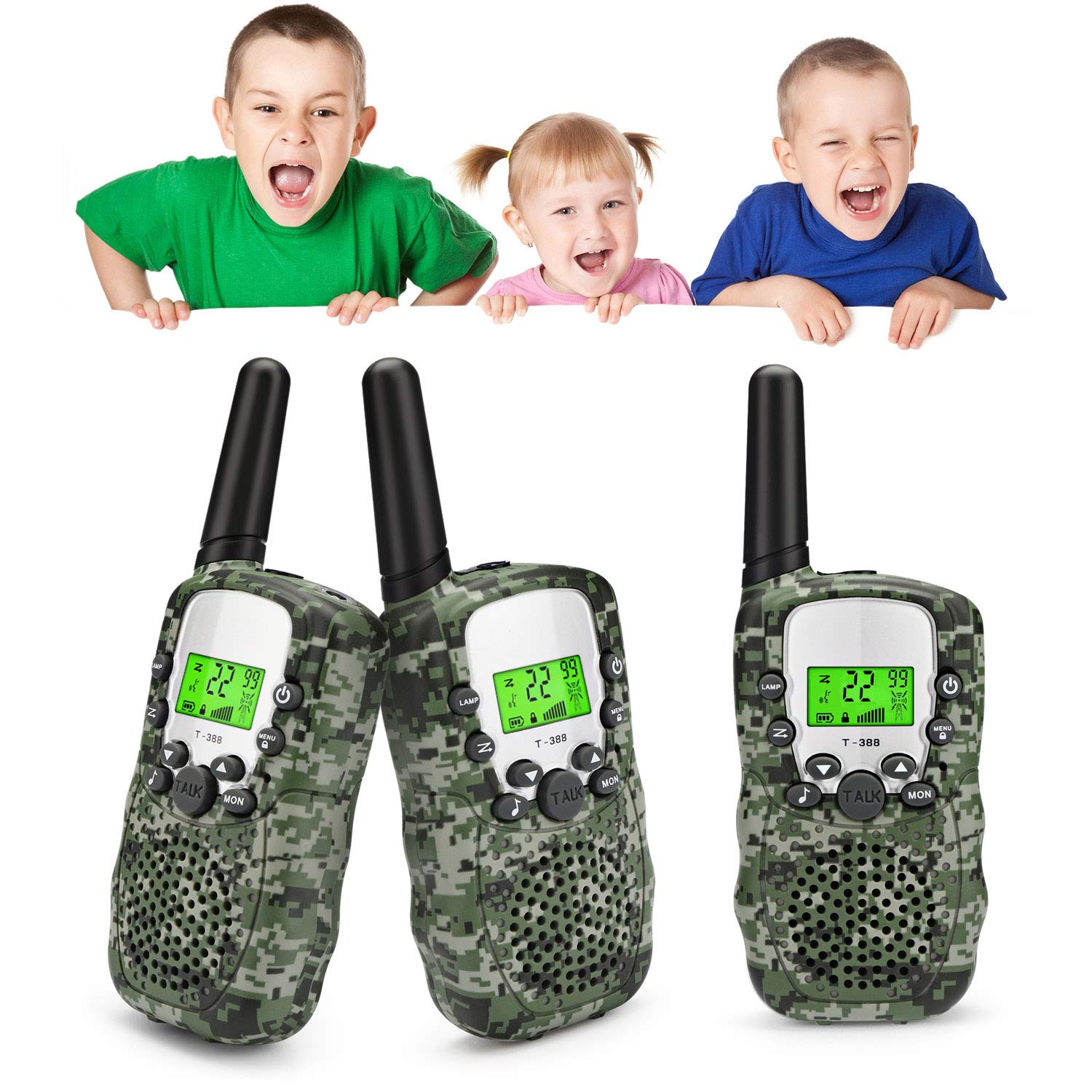 Zhenhao Walkie Talkies for Kids 3 Packs - 22 Channels Two Way Radio 3 Miles Long Range Outdoor Toys with 3 Earpieces and 3 Lanyards for Boys Girls by Zhenhao (Image #1)